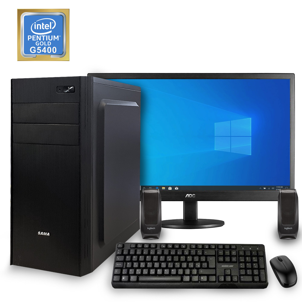 Desktop PC - G5400\4GB\240GB\Win10 + Monitor\KBM\SP