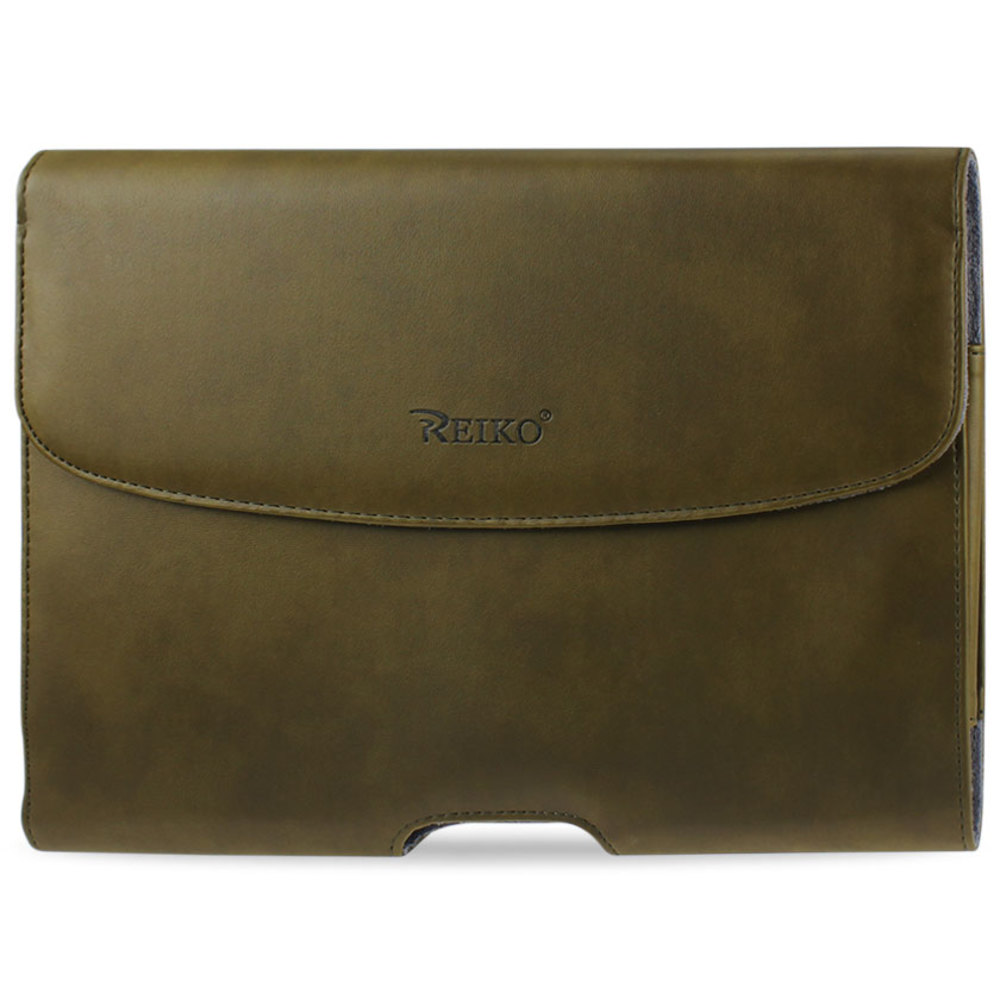 REIKO SMOOTH HORIZONTAL LEATHER POUCH IN ARMY GREEN