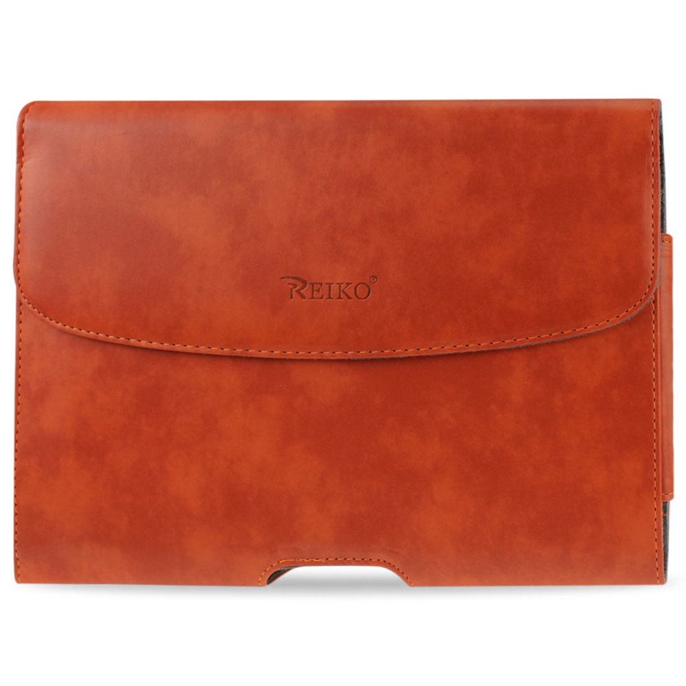 REIKO SMOOTH HORIZONTAL LEATHER POUCH IN ORANGE