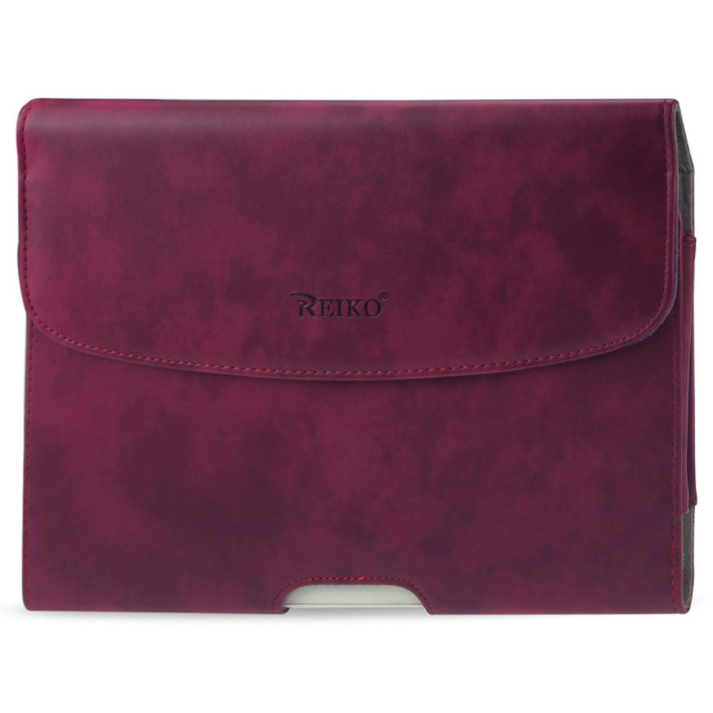 REIKO SMOOTH HORIZONTAL LEATHER POUCH IN RED