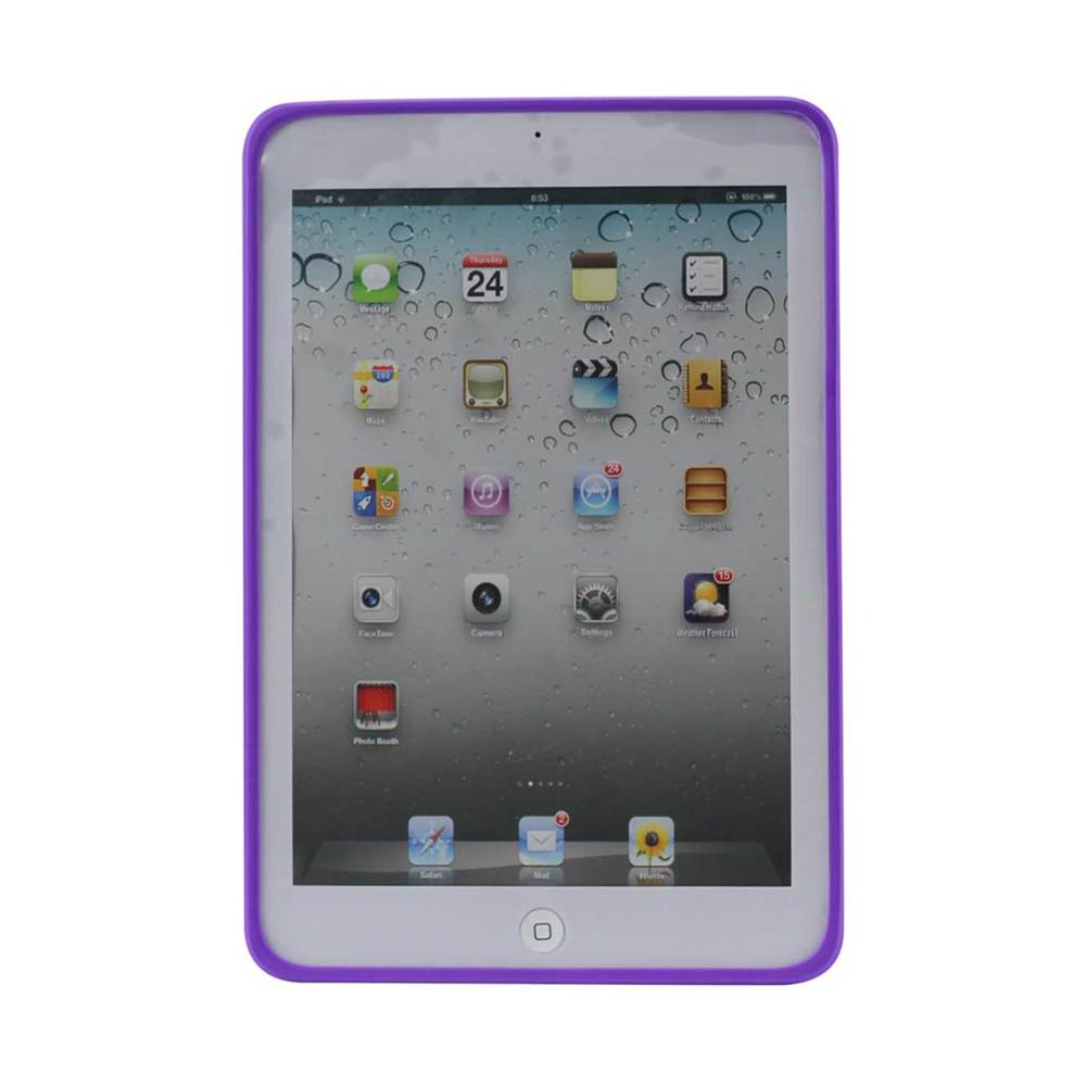 REIKO IPAD MINI/MINI 2 HYBRID HEAVY DUTY MESH CASE WITH KICKSTAND IN WHITE PURPLE