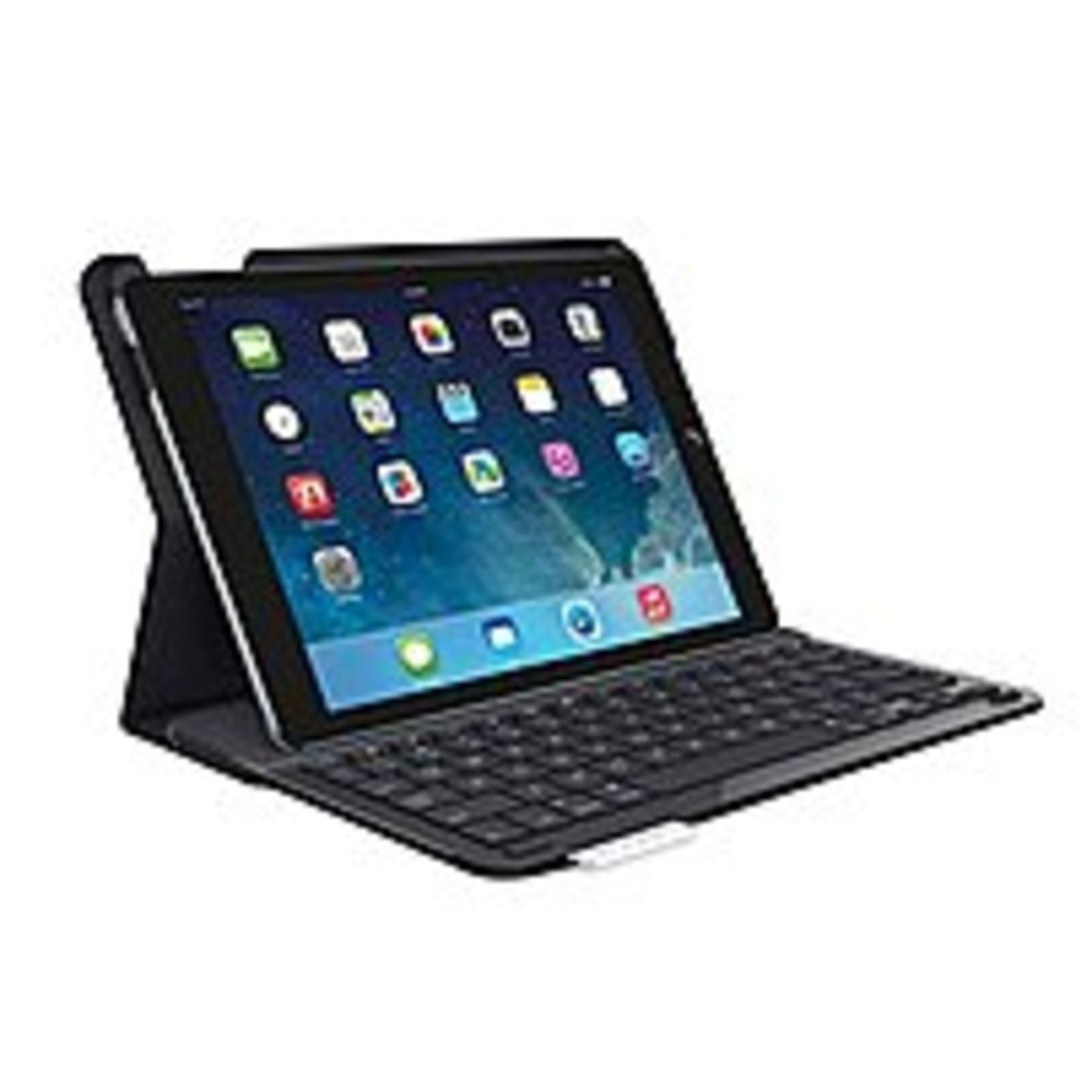 Logitech 920-006909 Keyboard/Cover Case for iPad Air - Black - Bump Resistant Interior, Ding Resistant Interior, Damage Resistant Interior - Fabric - 7.3 Height x 10.2 Width x 0.7 Depth