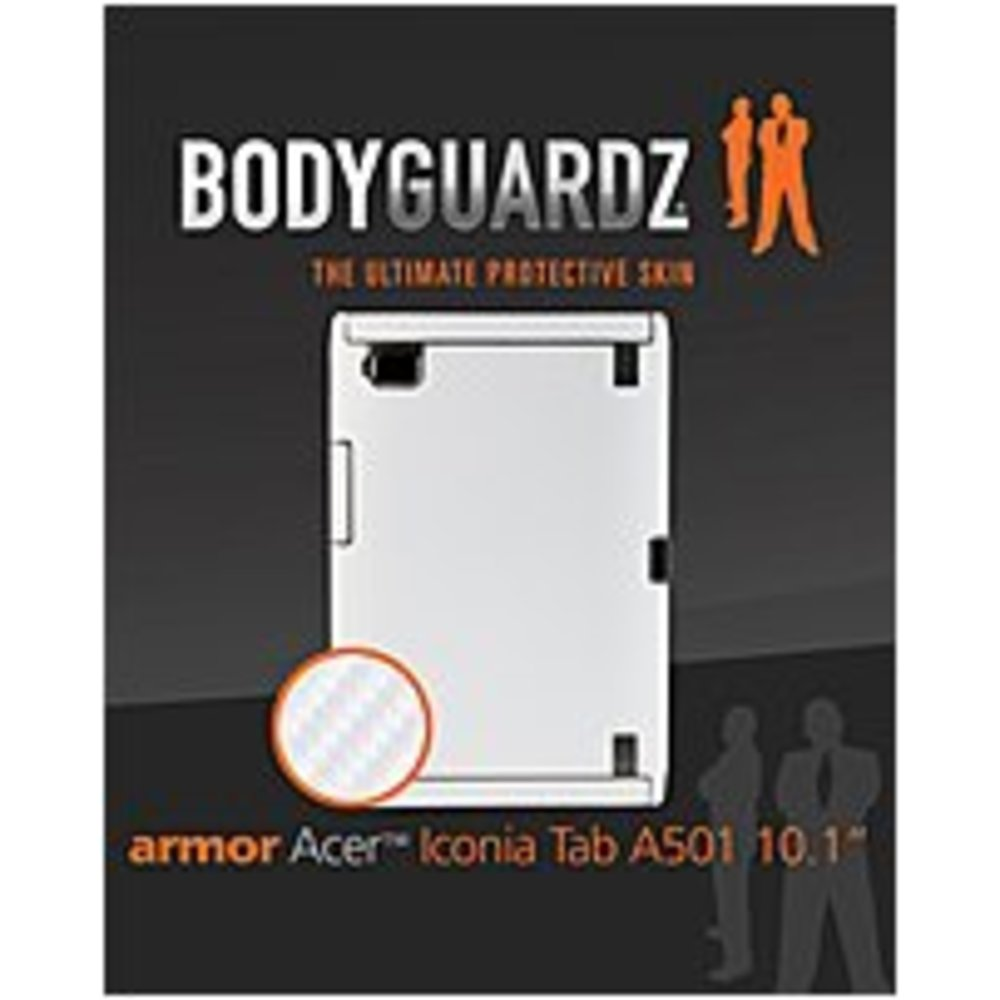 BodyGuardz Armor BZ-ACWT5-0911 Carbon Fiber Skin Protection with Screen Protector for Acer Iconia Tab A501 - White